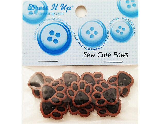 Dress It Up Sew Cute Paws Buttons, 8 Pieces #7679