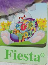 Fiesta Brand E07065 Purple White Polka Dot Sitting Easter Bunny With Bow Egg image 6