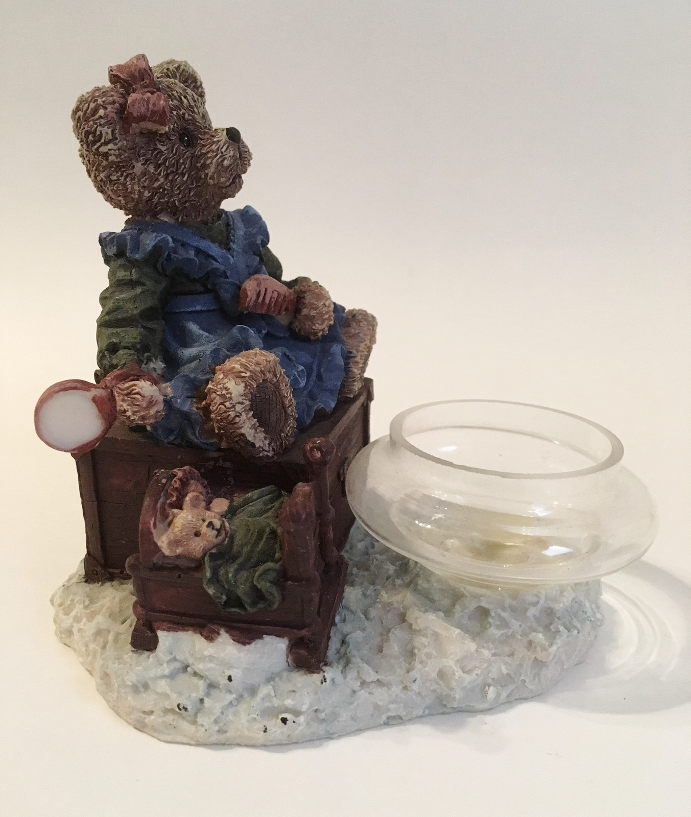 Mama & Baby Teddy Bear Tea Light Candle Holder Blue Green Brown Home Decor Cute