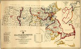 1901 Map Massachusetts Wall Art Poster Print Vintage History Population ... - $12.87+
