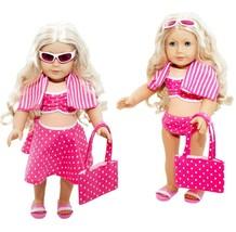 6 Piece Swimsuit Set for American Girl Dolls: Pretty Pink Polka Dot Swim... - $13.45