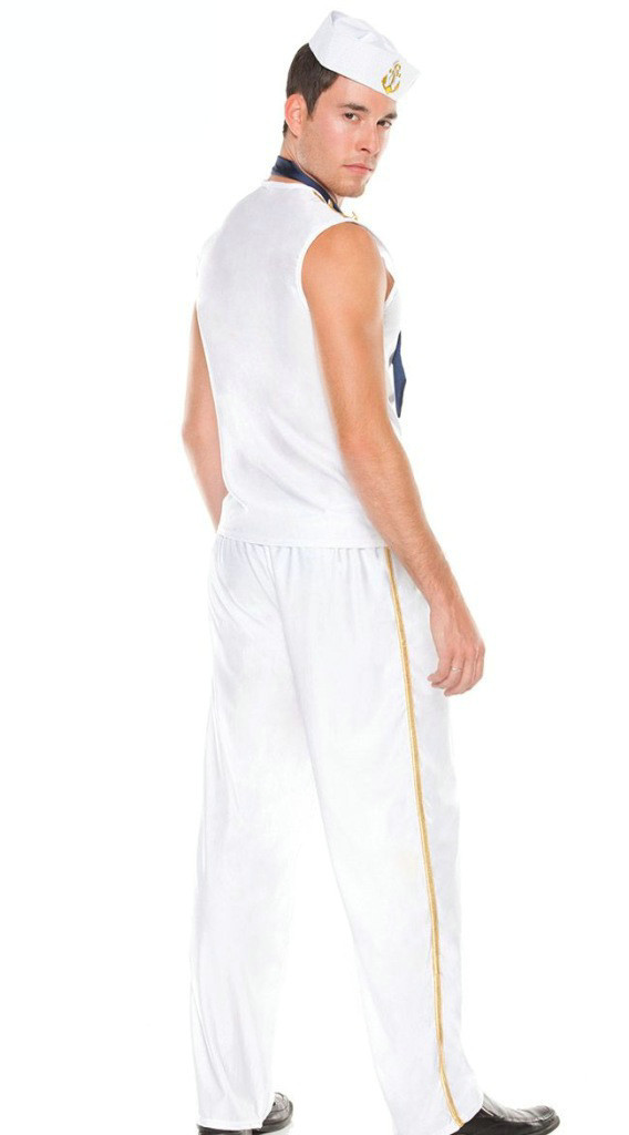 Halloween Men's White Sailor Suit Cosplay Costume