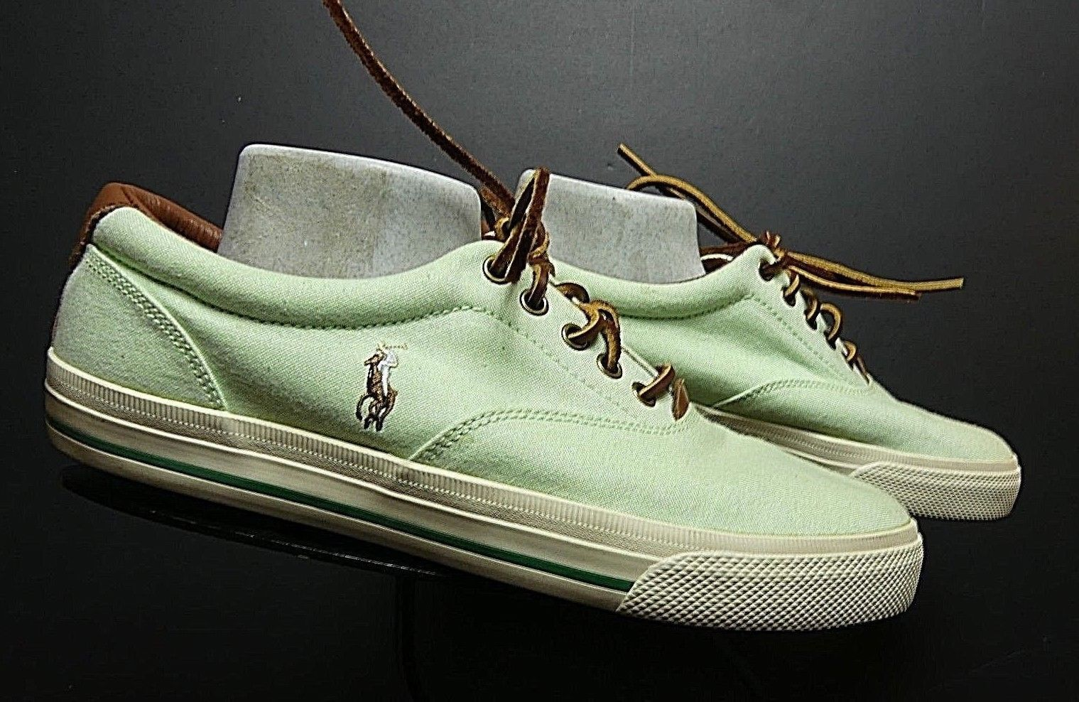 Men's POLO Ralph Lauren Casual Cool Lime Green Leather Sneaker Sz. 10M MINTY!