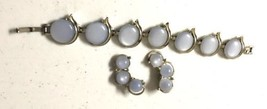 Vintage Matching Silver and Blue, Bracelet and Clip Earrings Set 1950s, ... - €18,52 EUR