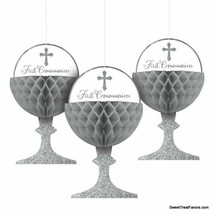 FIRST COMMUNION Chalice Party Decoration Silver Religous Honeycomb Hanging 3PC - $12.82