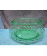 Green Vaseline glass bowl in swirl optic pattern. - $15.00