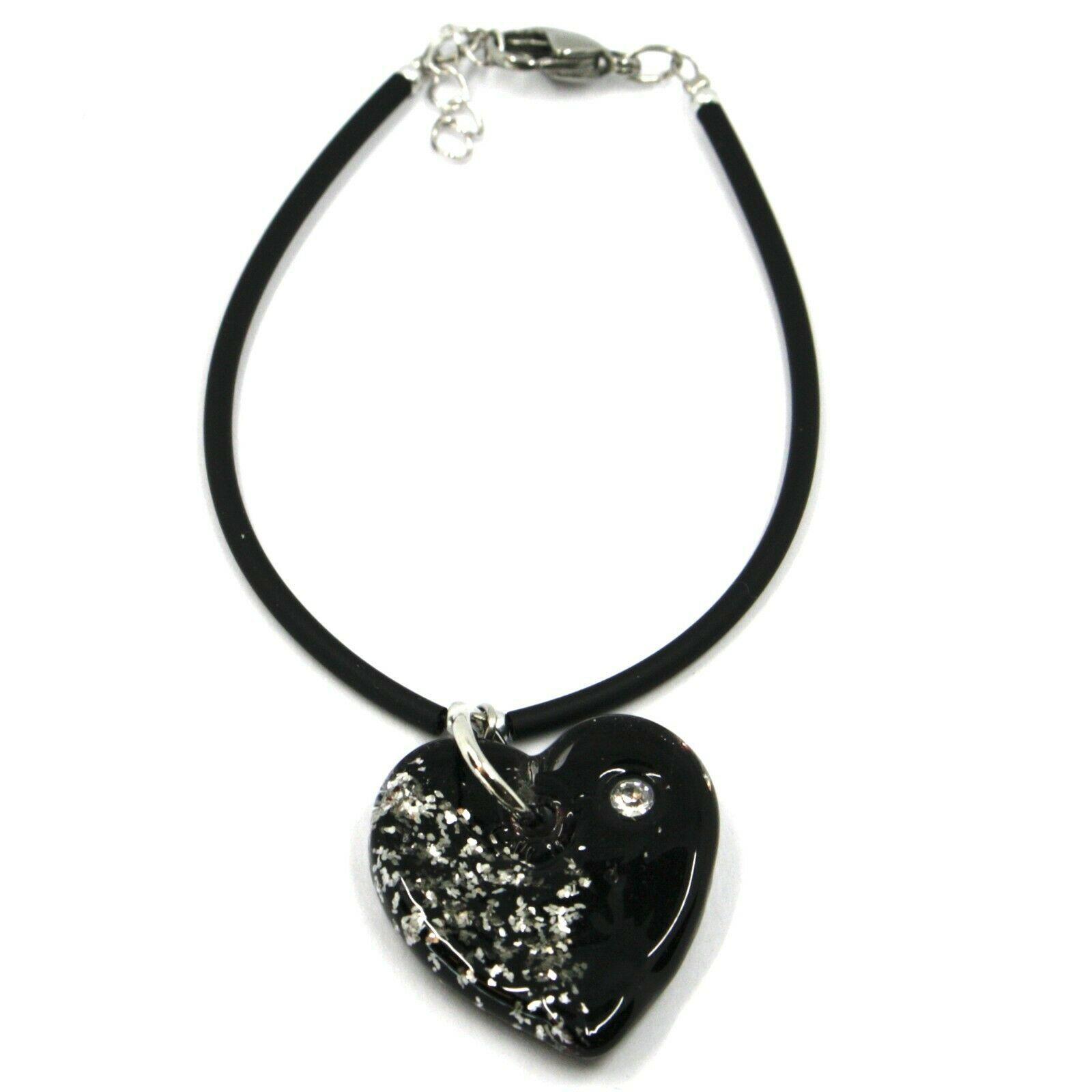Bracelet Rubber and Steel Antica Murrina Venezia, BR096M05, Heart Glass Purple