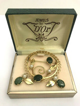 Vintage Jewels by D'Or Gold Filled and Jade Screw-On Earrings, Brooch Set  - $23.74