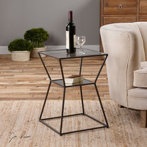 "NEW MODERN SHAPE 23"" BLACK IRON ACCENT END TABLE GLASS TOP ANTIQUED MIRR... - $217.80"