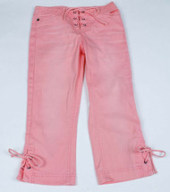 Limited Too Girls 8 Slim Peach Pants Cropped Lace Front Capris Cotton Spandex - $12.86