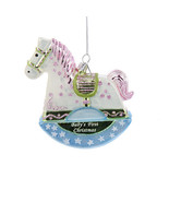 Adorable Glass Christmas Ornament-Baby's First Rocking Horse-Holiday! - $16.27