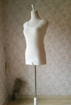 Ivory White Slim Stretchy Lace Tank Top Wedding Bridal Tank Tops NWT image 5