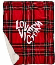 Victoria's Secret Sherpa Throw Blanket Red Plaid 50X60 NEW - $50.83