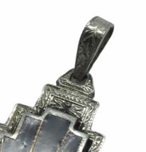 Stunning 925 Sterling Silver Crystal Enamel Art Deco Pendant Jewelry 7.5gr image 2
