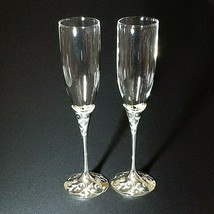2 LENOX FOREVERMORE Crystal Silverplate Wedding Toasting Champagne Flutes - $61.74