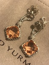 David Yurman Sterling Silver Morganite Cushion on Point Diamond Earrings - $371.25
