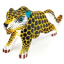 "Handmade Alebrijes Oaxacan Painted Wood Folk Art Leopard Jaguar 7"" Figurine image 2"