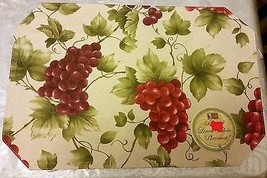 "SET OF 3 SAME FABRIC PLACEMATS 12"" x 18"", GRAPES # 1 by BH - $14.84"
