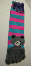 Ladies Toe Socks by Gold Medal, Gray Bear Design W/Stripes, Size 9-11, New - $6.99