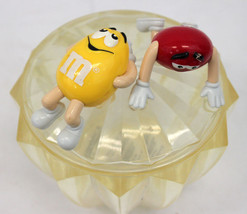 M&M's Vintage Plastic Candy Dish Bowl with Lid Red Plain Yellow Peanut R... - $18.95