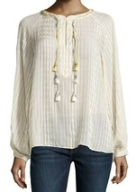 NWT Womens Calypso St. Barth L/S Yavisa Jacquard Stripe Silk Blouse Sz Medium - $98.99