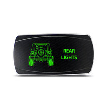 Rocker Switch Jeep Wrangler JK Rear Lights Symbol - Horizontal - Green LED - $16.44