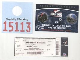 DETROIT LIONS @ HOUSTON 10/19/08 Ticket, Parking Tkt, Fan Booklet! Texas... - $8.41