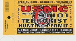 USMC Marines Terrorist Hunting Permit Vintage 3X6 Vinyl Guns Sticker - $4.50