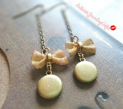 Tiny Locket Earrings Mesh Bow Earrings Tiny Brass Locket Earrings Shabby... - $42.00