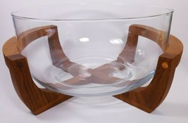 Baker Hart And Stuart Glass Salad Bowl And Wood Cradle Stand - $19.77