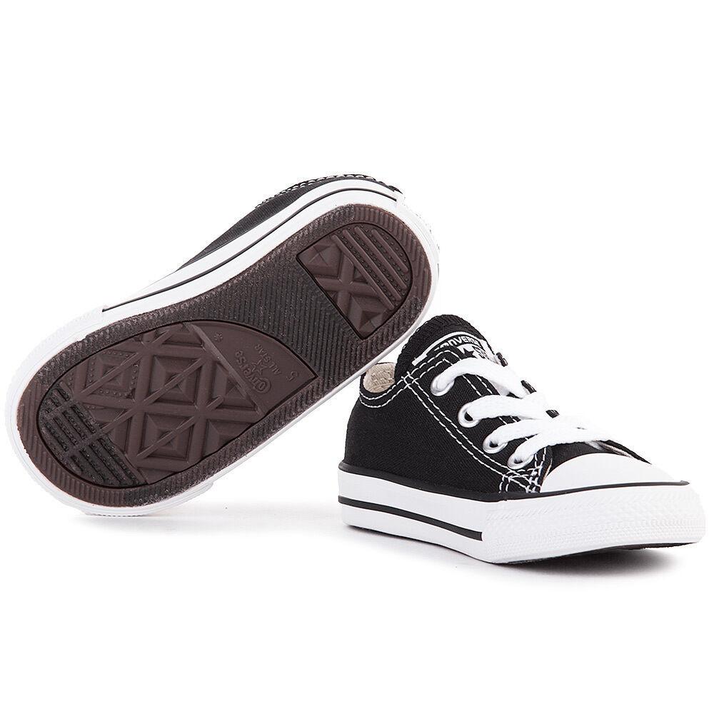 Converse All Star Chuck OX 3J235 Canvas Black Preshool Shoes *NO BOX image 2