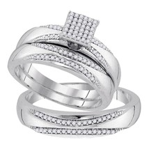 10k White Gold His Hers Diamond Square Cluster Matching Bridal Wedding Ring Set - $622.54