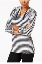 Calvin Klein Performance Striped Hooded Top, Size L, MSRP $49 - $22.20