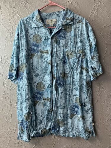 Primary image for Island Shores Mens Short Sleeve Button Front Hawaiian Shirt Blue Map Size 2XL