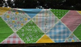 New Vintage Sears Country Patch Curtain Valance Top Pink Blue 11x84 - $18.52