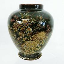 """Ginger Jar Vase Imperial Kiku Black Gold Gilted Florals Hand Painted 6"""" - $30.85"""