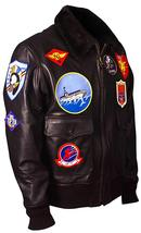 Maverick Top Gun Aviator Pilot Tom Cruise Fur Collar Brown Bomber Leather Jacket image 2