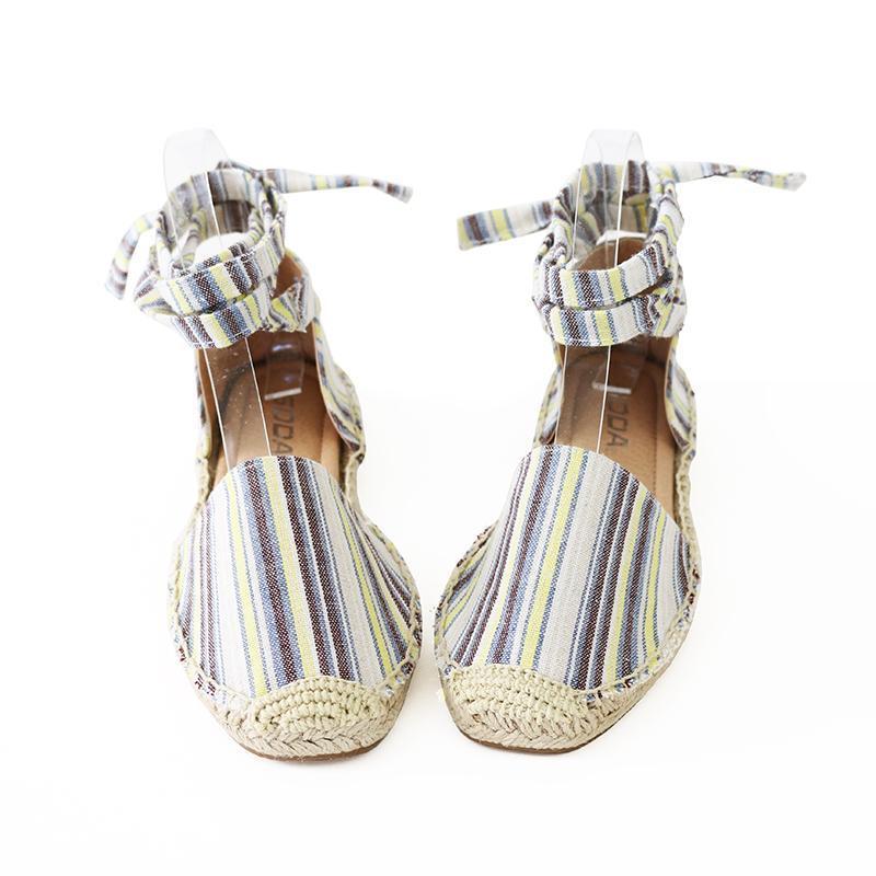 layout linen tie ankle espadrille flat sandal image 2