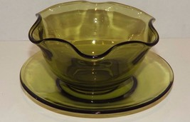 Vtg Avocado Green Indiana Glass Cheese Ball Relish Scalloped Edge Bowl a... - $11.75