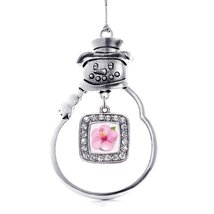 Inspired Silver Hibiscus Flower Classic Snowman Holiday Christmas Tree Ornament - $14.69