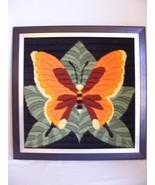 "Butterfly Framed Needlepoint 18"" x 18"" Black Orange Green Long Stitch - $29.95"
