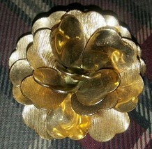Vintage Gold Tone Peony Flower Pin Brooch - $11.83