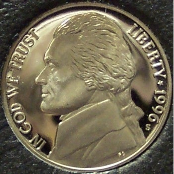 Primary image for 1996-S DCAM PROOF Jefferson Nickel PF65 #0268