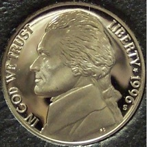 1996-S DCAM PROOF Jefferson Nickel PF65 #0268 - $2.39
