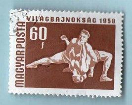 Hungary Postage Stamp Used (1958) - 60f International Wrestling - Scott ... - $1.99