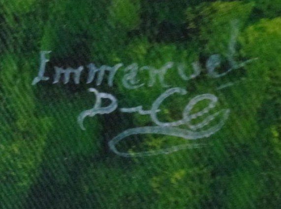 Rare Signed EMMANUEL DULCE Contemporary Art Painting Haiti - Listed Haitian Arti