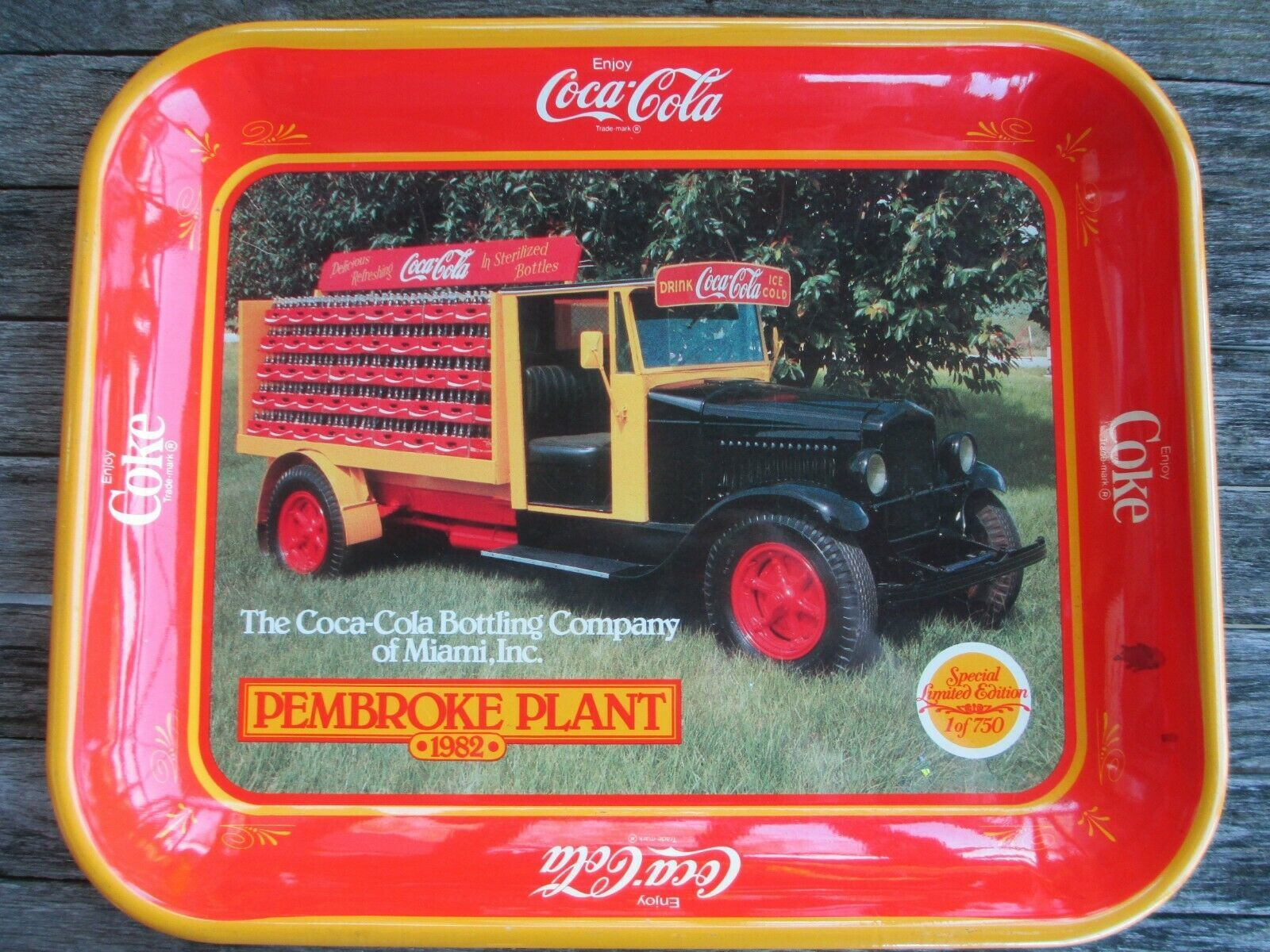 Primary image for Coca-Cola Bottling Company Miami Pembroke Plant Tray 1982 Ltd Edition 1 of 750