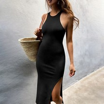 New black sexy halter neck sleeveless high slit midi length pencil women... - $32.00