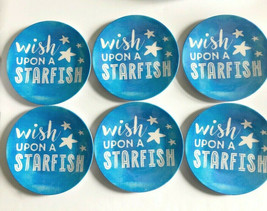 "Melamine Tidbit Appetizer Side Plates 6"" Set of 6 Wish Upon a Starfish B... - $26.61"