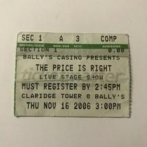 Price Is Right Stage Show Claridge Tower TV Ticket Stub Vintage November... - $15.84